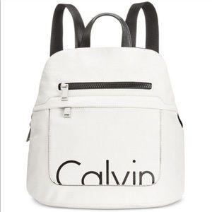 CALVIN KLEIN white leather Calvin logo backpack